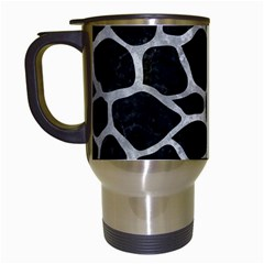 Skin1 Black Marble & Gray Metal 2 (r) Travel Mugs (white)