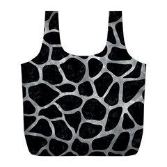 Skin1 Black Marble & Gray Metal 2 (r) Full Print Recycle Bags (l)