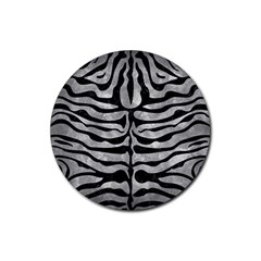 Skin2 Black Marble & Gray Metal 2 (r) Rubber Round Coaster (4 Pack)