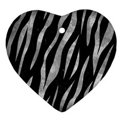 Skin3 Black Marble & Gray Metal 2 Heart Ornament (two Sides)