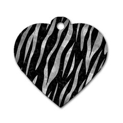 Skin3 Black Marble & Gray Metal 2 Dog Tag Heart (two Sides)
