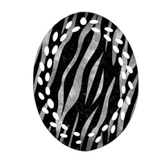 Skin3 Black Marble & Gray Metal 2 Oval Filigree Ornament (two Sides)
