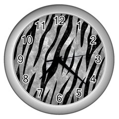 Skin3 Black Marble & Gray Metal 2 (r) Wall Clocks (silver)