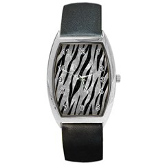 Skin3 Black Marble & Gray Metal 2 (r) Barrel Style Metal Watch