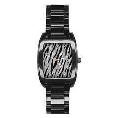 Skin3 Black Marble & Gray Metal 2 (r) Stainless Steel Barrel Watch