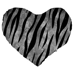 Skin3 Black Marble & Gray Metal 2 (r) Large 19  Premium Flano Heart Shape Cushions