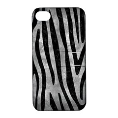 Skin4 Black Marble & Gray Metal 2 Apple Iphone 4/4s Hardshell Case With Stand