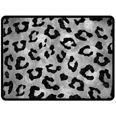 Skin5 Black Marble & Gray Metal 2 Fleece Blanket (large)