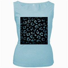 Skin5 Black Marble & Gray Metal 2 (r) Women s Baby Blue Tank Top