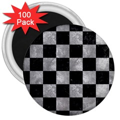 Square1 Black Marble & Gray Metal 2 3  Magnets (100 Pack)
