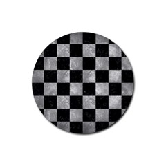 Square1 Black Marble & Gray Metal 2 Rubber Round Coaster (4 Pack)