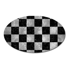 Square1 Black Marble & Gray Metal 2 Oval Magnet