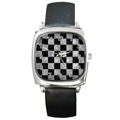 Square1 Black Marble & Gray Metal 2 Square Metal Watch