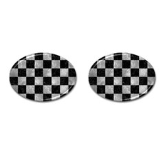 Square1 Black Marble & Gray Metal 2 Cufflinks (oval)