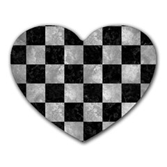 Square1 Black Marble & Gray Metal 2 Heart Mousepads