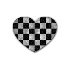 Square1 Black Marble & Gray Metal 2 Rubber Coaster (heart)
