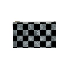 Square1 Black Marble & Gray Metal 2 Cosmetic Bag (small)
