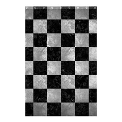 Square1 Black Marble & Gray Metal 2 Shower Curtain 48  X 72  (small)