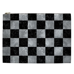Square1 Black Marble & Gray Metal 2 Cosmetic Bag (xxl)