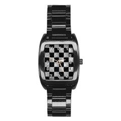 Square1 Black Marble & Gray Metal 2 Stainless Steel Barrel Watch