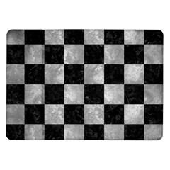 Square1 Black Marble & Gray Metal 2 Samsung Galaxy Tab 10 1  P7500 Flip Case