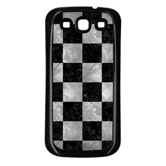 Square1 Black Marble & Gray Metal 2 Samsung Galaxy S3 Back Case (black)