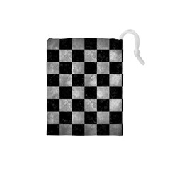 Square1 Black Marble & Gray Metal 2 Drawstring Pouches (small)