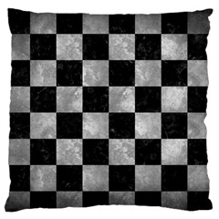 Square1 Black Marble & Gray Metal 2 Large Flano Cushion Case (one Side)