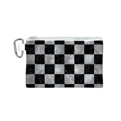 Square1 Black Marble & Gray Metal 2 Canvas Cosmetic Bag (s)