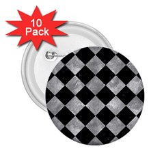 Square2 Black Marble & Gray Metal 2 2 25  Buttons (10 Pack)
