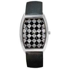 Square2 Black Marble & Gray Metal 2 Barrel Style Metal Watch
