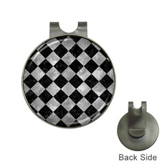 Square2 Black Marble & Gray Metal 2 Hat Clips With Golf Markers