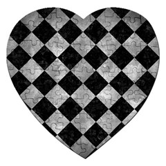 Square2 Black Marble & Gray Metal 2 Jigsaw Puzzle (heart)