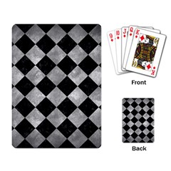 Square2 Black Marble & Gray Metal 2 Playing Card