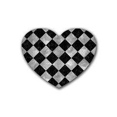 Square2 Black Marble & Gray Metal 2 Rubber Coaster (heart)