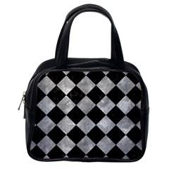 Square2 Black Marble & Gray Metal 2 Classic Handbags (one Side)