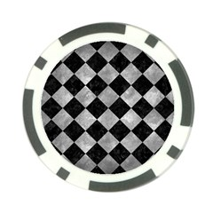 Square2 Black Marble & Gray Metal 2 Poker Chip Card Guard (10 Pack)