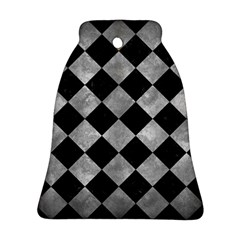 Square2 Black Marble & Gray Metal 2 Ornament (bell)