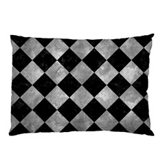 Square2 Black Marble & Gray Metal 2 Pillow Case (two Sides)
