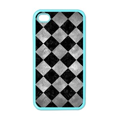 Square2 Black Marble & Gray Metal 2 Apple Iphone 4 Case (color)