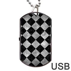 Square2 Black Marble & Gray Metal 2 Dog Tag Usb Flash (one Side)