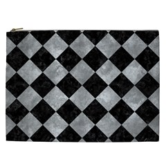 Square2 Black Marble & Gray Metal 2 Cosmetic Bag (xxl)
