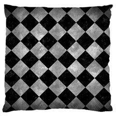 Square2 Black Marble & Gray Metal 2 Large Flano Cushion Case (one Side)