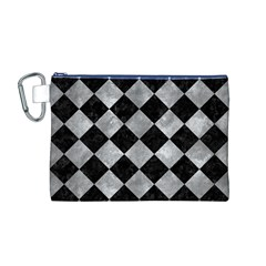 Square2 Black Marble & Gray Metal 2 Canvas Cosmetic Bag (m)