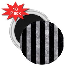 Stripes1 Black Marble & Gray Metal 2 2 25  Magnets (10 Pack)