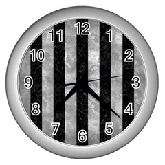 Stripes1 Black Marble & Gray Metal 2 Wall Clocks (silver)