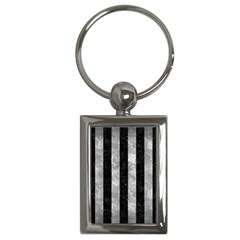 Stripes1 Black Marble & Gray Metal 2 Key Chains (rectangle)
