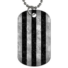 Stripes1 Black Marble & Gray Metal 2 Dog Tag (one Side)