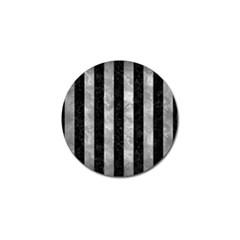 Stripes1 Black Marble & Gray Metal 2 Golf Ball Marker (10 Pack)