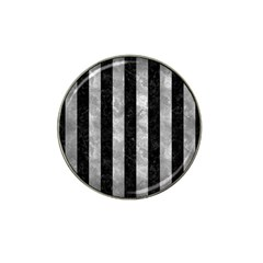 Stripes1 Black Marble & Gray Metal 2 Hat Clip Ball Marker (4 Pack)